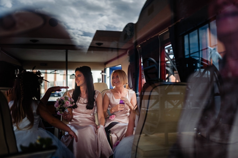 Bridesmaids arrive at the Titanic